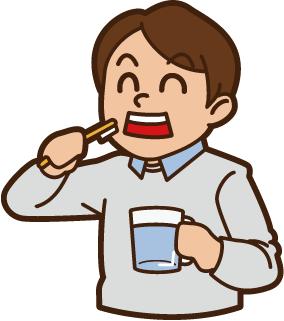 歯を磨いてる男性