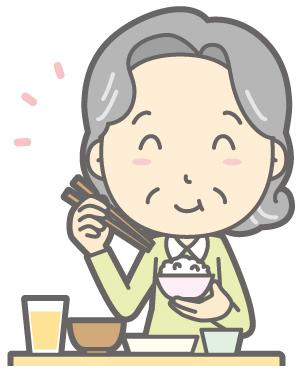 ご飯を食べるおばあちゃん
